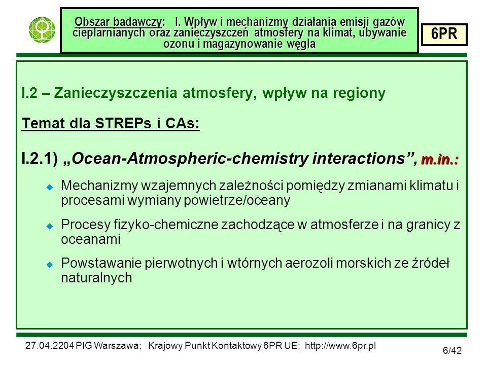 27.04.2204 PIG Warszawa; Krajowy Punkt Kontaktowy 6PR UE; http://www.6pr.pl 6PR 6/42 Obszar badawczy: I.