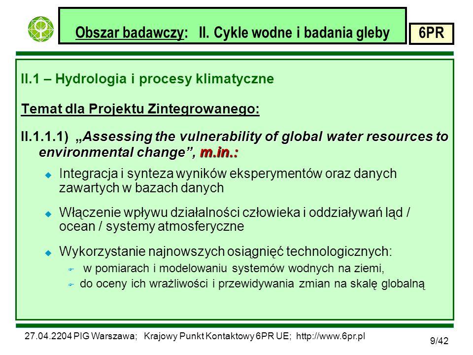 27.04.2204 PIG Warszawa; Krajowy Punkt Kontaktowy 6PR UE; http://www.6pr.pl 6PR 30/42 Obszar badawczy: VII.