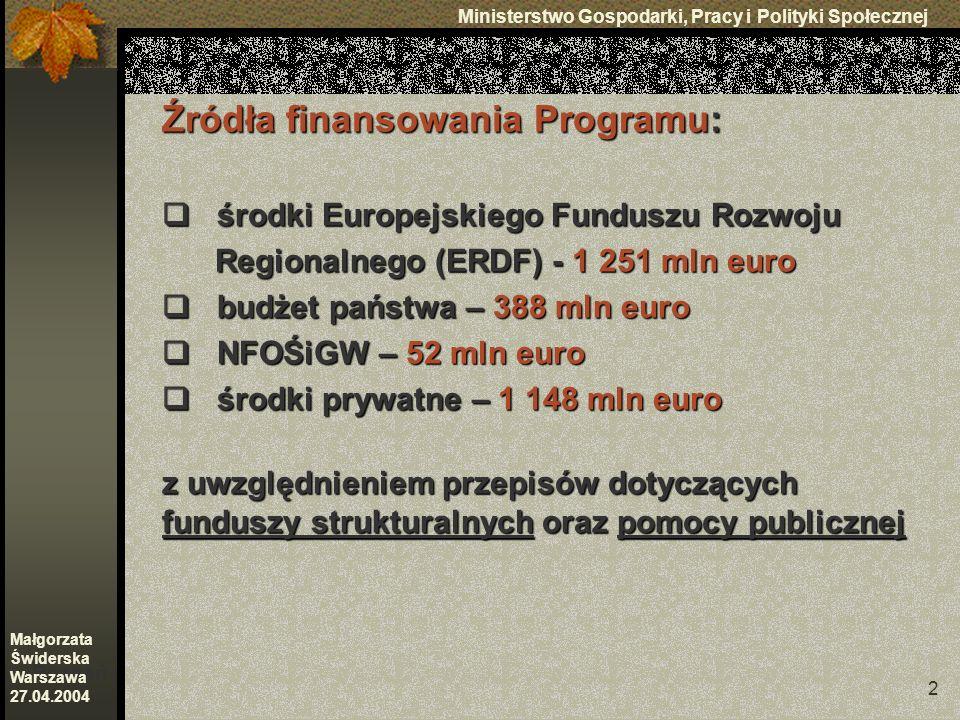 2 Ministerstwo Gospodarki, Pracy i Polityki Społecznej Poznań Małgorzata Świderska Warszawa 27.04.2004 Źródła finansowania Programu: środki Europejskiego Funduszu Rozwoju środki Europejskiego Funduszu Rozwoju Regionalnego (ERDF) - 1 251 mln euro Regionalnego (ERDF) - 1 251 mln euro budżet państwa – 388 mln euro budżet państwa – 388 mln euro NFOŚiGW – 52 mln euro NFOŚiGW – 52 mln euro środki prywatne – 1 148 mln euro środki prywatne – 1 148 mln euro z uwzględnieniem przepisów dotyczących funduszy strukturalnych oraz pomocy publicznej