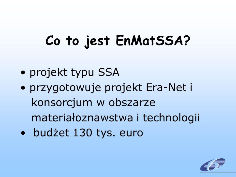 Co to jest EnMatSSA? projekt typu SSA przygotowuje projekt Era-Net i konsorcjum w obszarze materiałoznawstwa i technologii budżet 130 tys. euro