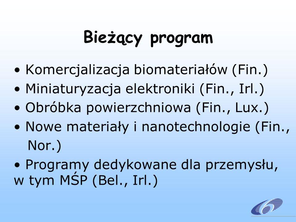 Bieżący program Komercjalizacja biomateriałów (Fin.) Miniaturyzacja elektroniki (Fin., Irl.) Obróbka powierzchniowa (Fin., Lux.) Nowe materiały i nanotechnologie (Fin., Nor.) Programy dedykowane dla przemysłu, w tym MŚP (Bel., Irl.)