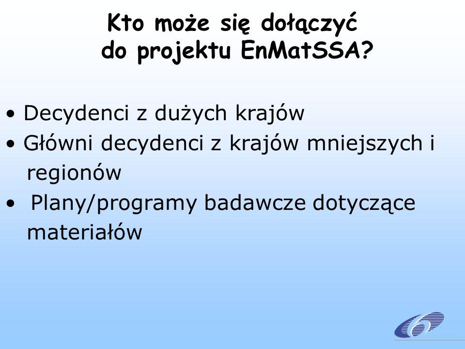 Kto może się dołączyć do projektu EnMatSSA? Decydenci z dużych krajów Główni decydenci z krajów mniejszych i regionów Plany/programy badawcze dotycząc