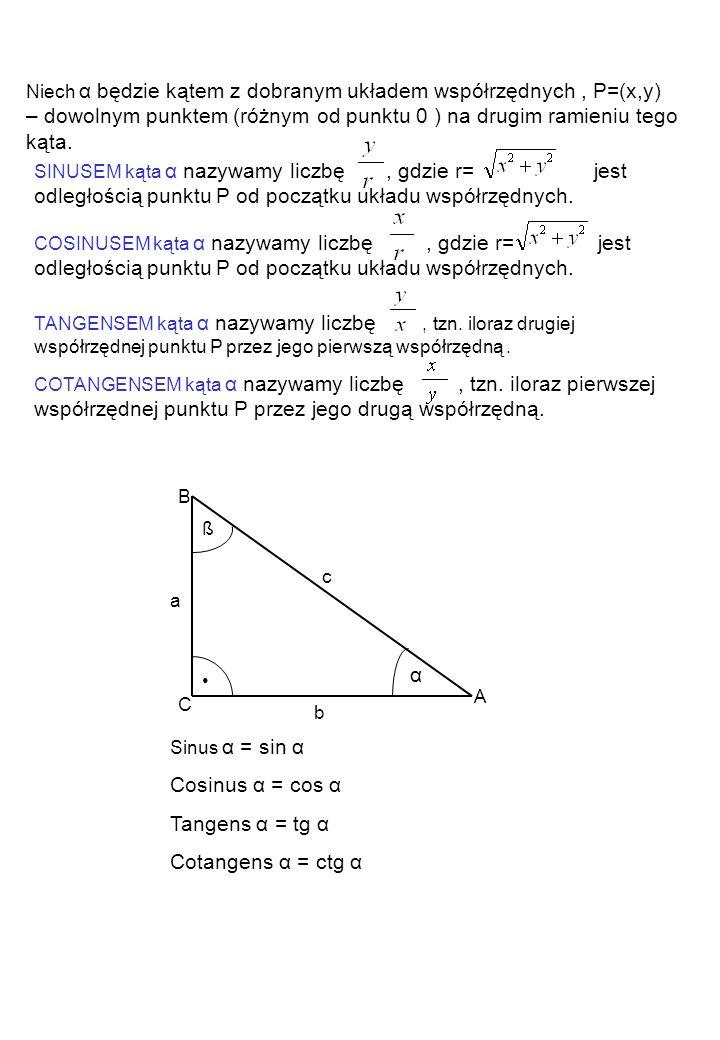 ß α A B C a b c Sinus α = sin α Cosinus α = cos α Tangens α = tg α Cotangens α = ctg α Niech α będzie kątem z dobranym układem współrzędnych, P=(x,y)