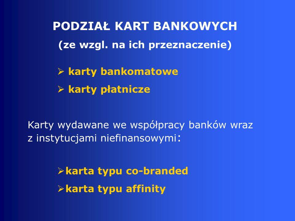 karty bankomatowe karty płatnicze Karty wydawane we współpracy banków wraz z instytucjami niefinansowymi : karta typu co-branded karta typu affinity PODZIAŁ KART BANKOWYCH (ze wzgl.