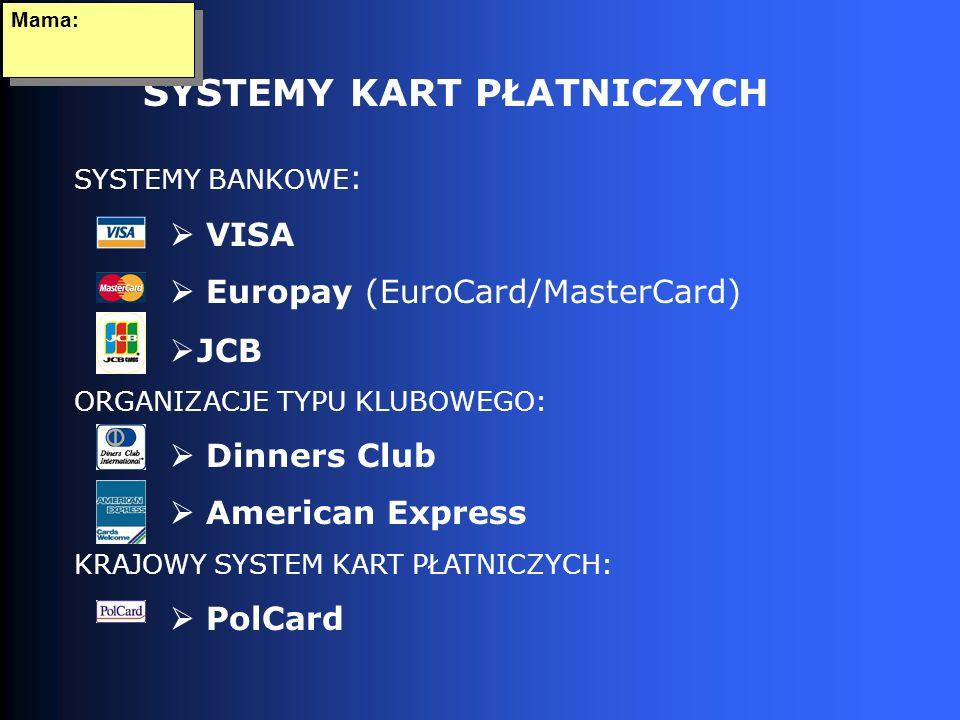 SYSTEMY KART PŁATNICZYCH Mama: SYSTEMY BANKOWE : VISA Europay (EuroCard/MasterCard) JCB ORGANIZACJE TYPU KLUBOWEGO: Dinners Club American Express KRAJOWY SYSTEM KART PŁATNICZYCH: PolCard