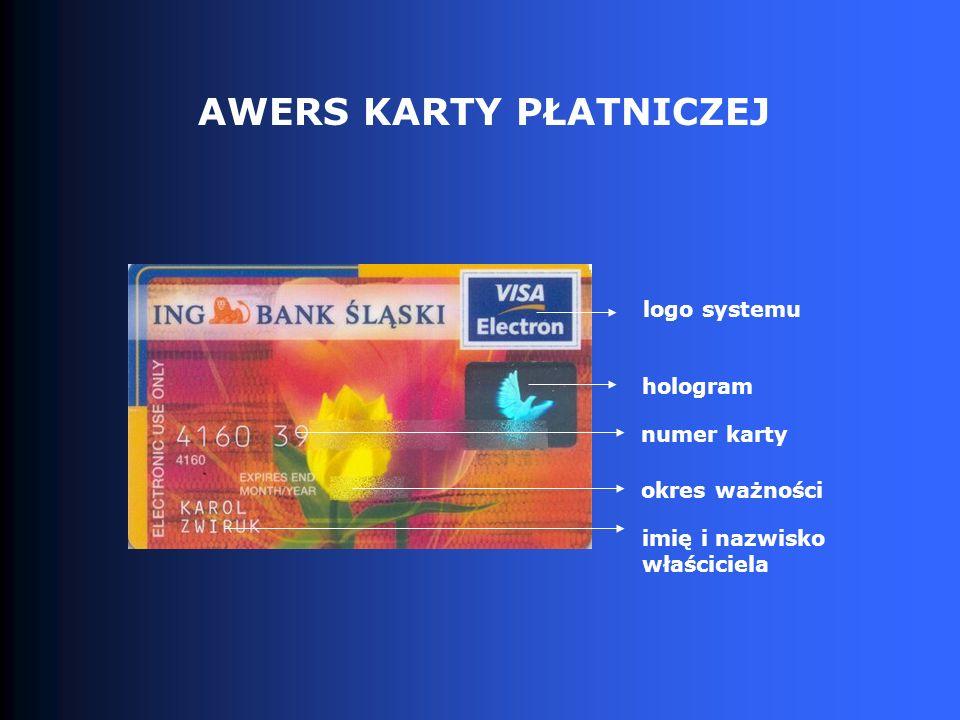 AWERS KARTY PŁATNICZEJ logo systemu hologram numer karty okres ważności imię i nazwisko właściciela