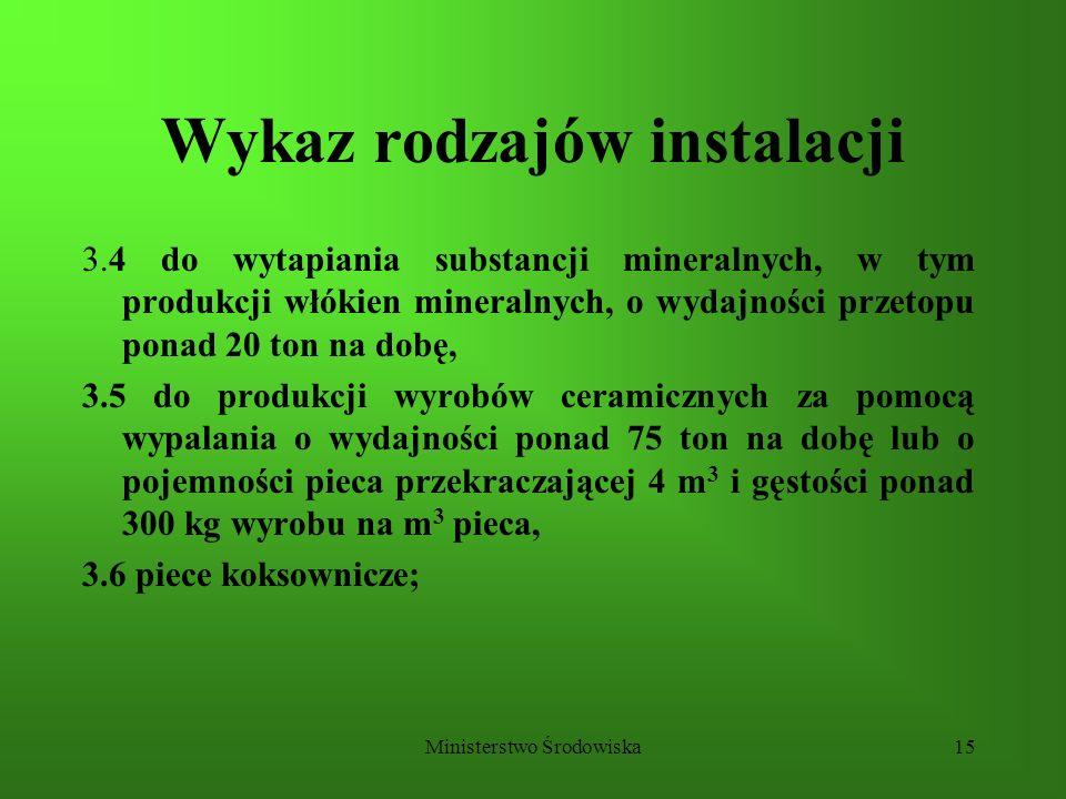 Ministerstwo Środowiska15 Wykaz rodzajów instalacji 3.4 do wytapiania substancji mineralnych, w tym produkcji włókien mineralnych, o wydajności przeto
