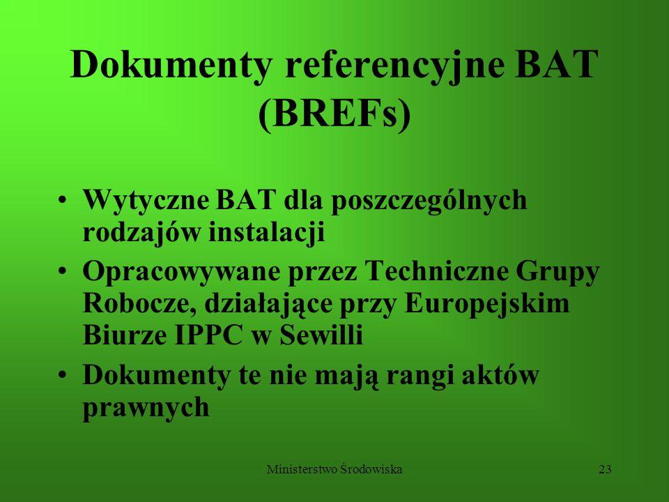 Ministerstwo Środowiska23 Dokumenty referencyjne BAT (BREFs) Wytyczne BAT dla poszczególnych rodzajów instalacji Opracowywane przez Techniczne Grupy R