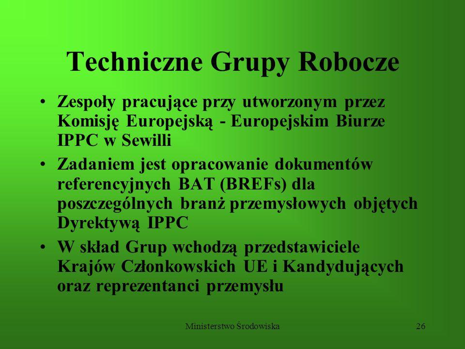 Ministerstwo Środowiska26 Techniczne Grupy Robocze Zespoły pracujące przy utworzonym przez Komisję Europejską - Europejskim Biurze IPPC w Sewilli Zada