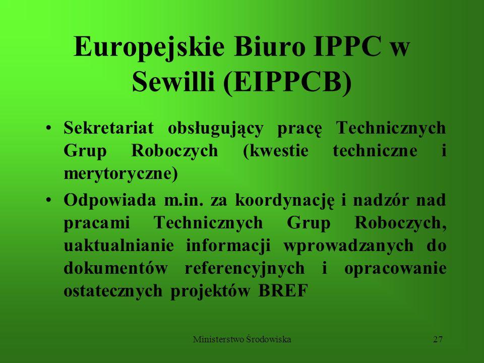 Ministerstwo Środowiska27 Europejskie Biuro IPPC w Sewilli (EIPPCB) Sekretariat obsługujący pracę Technicznych Grup Roboczych (kwestie techniczne i me