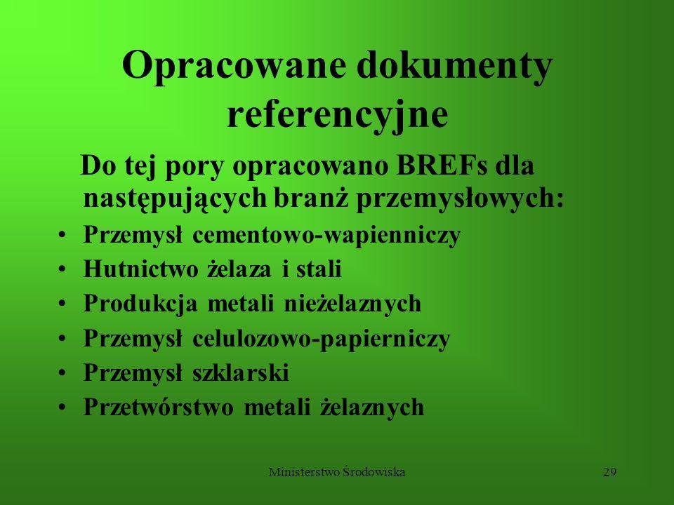 Ministerstwo Środowiska29 Opracowane dokumenty referencyjne Do tej pory opracowano BREFs dla następujących branż przemysłowych: Przemysł cementowo-wap