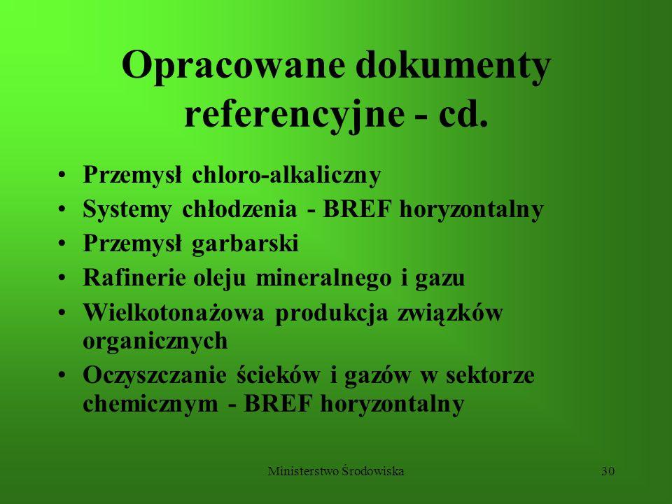 Ministerstwo Środowiska30 Opracowane dokumenty referencyjne - cd. Przemysł chloro-alkaliczny Systemy chłodzenia - BREF horyzontalny Przemysł garbarski