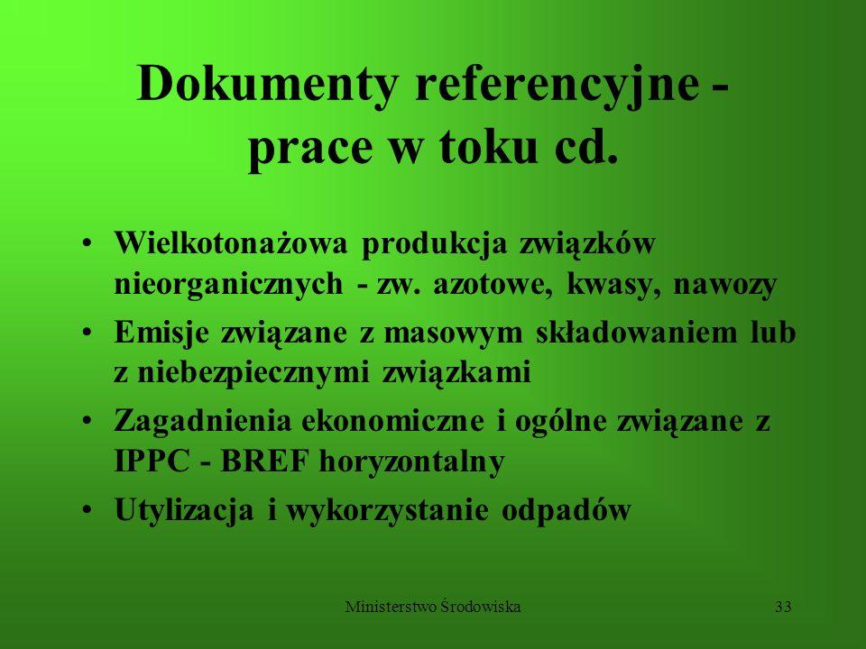 Ministerstwo Środowiska33 Dokumenty referencyjne - prace w toku cd. Wielkotonażowa produkcja związków nieorganicznych - zw. azotowe, kwasy, nawozy Emi