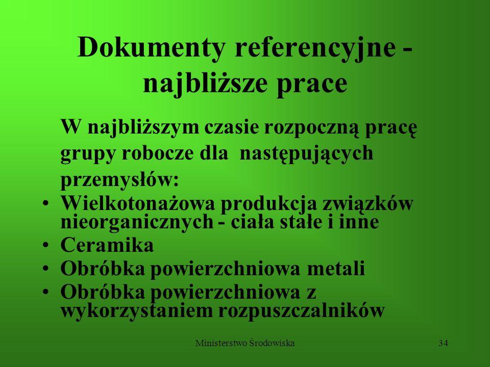 Ministerstwo Środowiska34 Dokumenty referencyjne - najbliższe prace W najbliższym czasie rozpoczną pracę grupy robocze dla następujących przemysłów: W
