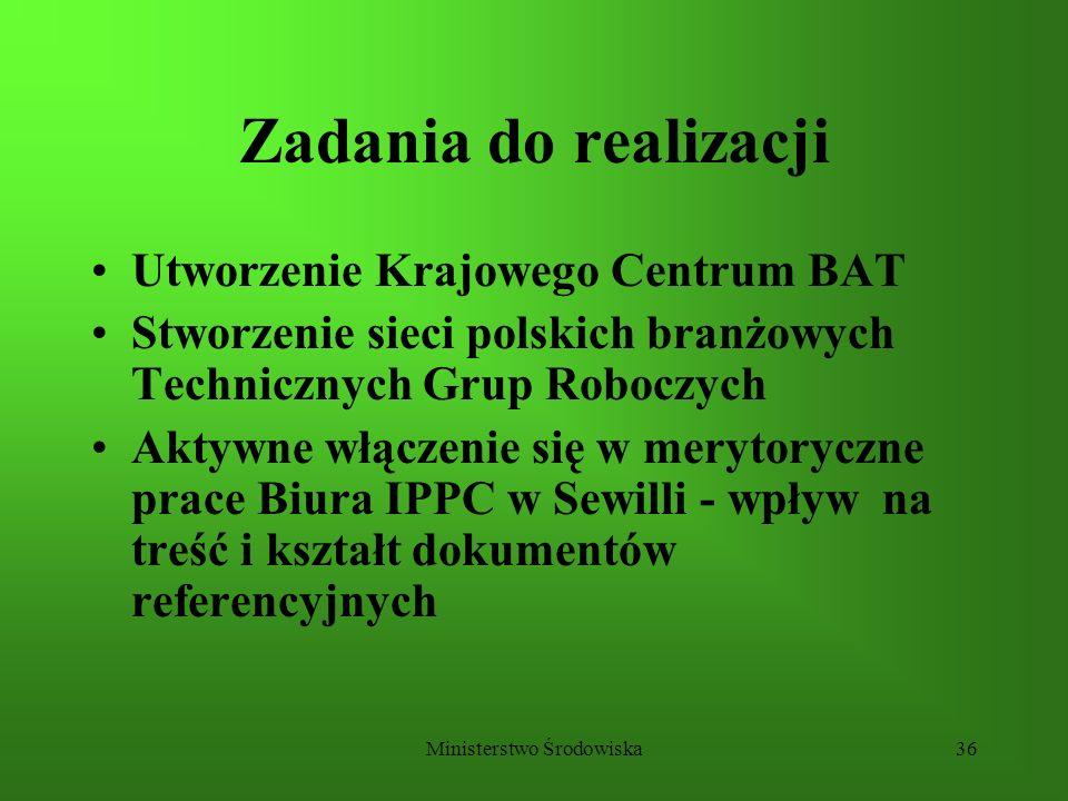 Ministerstwo Środowiska36 Zadania do realizacji Utworzenie Krajowego Centrum BAT Stworzenie sieci polskich branżowych Technicznych Grup Roboczych Akty