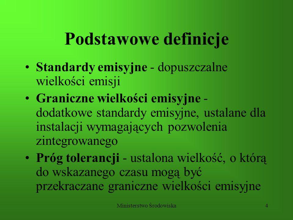 Ministerstwo Środowiska4 Podstawowe definicje Standardy emisyjne - dopuszczalne wielkości emisji Graniczne wielkości emisyjne - dodatkowe standardy em