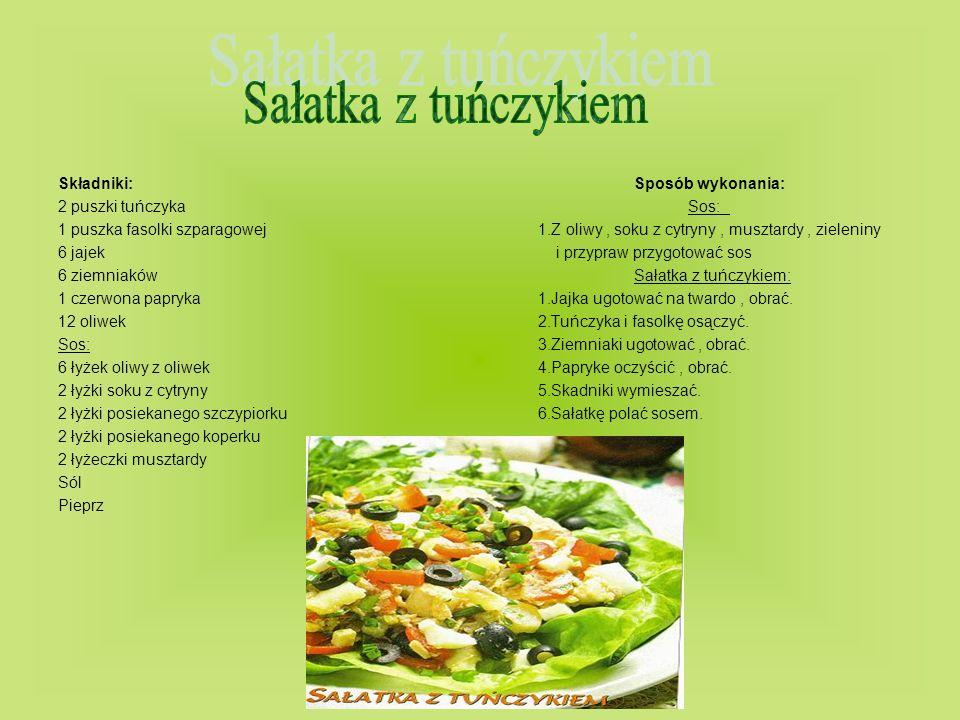 Składniki: Sposób wykonania: 2 puszki tuńczyka Sos: 1 puszka fasolki szparagowej1.Z oliwy, soku z cytryny, musztardy, zieleniny 6 jajek i przypraw prz