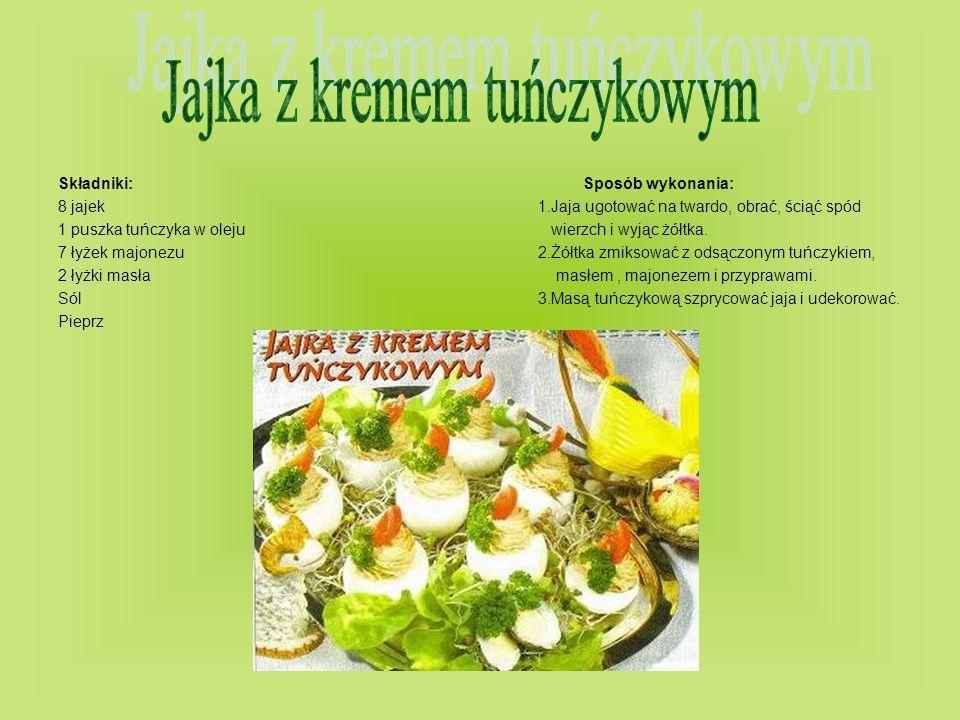 Składniki: Sposób wykonania: 8 jajek1.Jaja ugotować na twardo, obrać, ściąć spód 1 puszka tuńczyka w oleju wierzch i wyjąc żółtka. 7 łyżek majonezu2.Ż