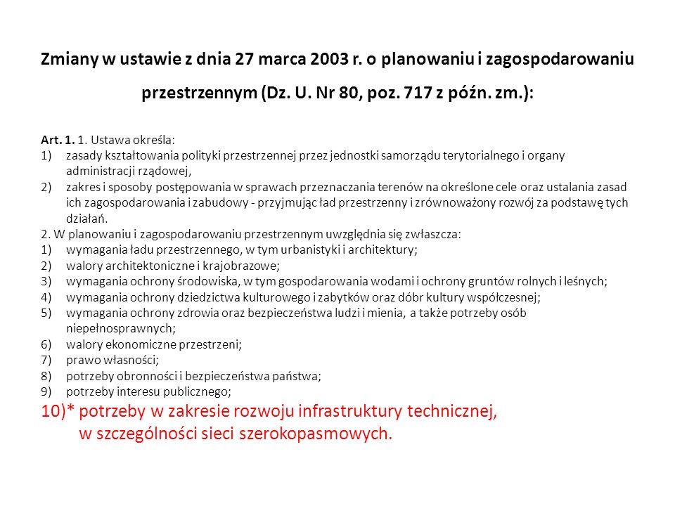 Zmiany w ustawie z dnia 27 marca 2003 r. o planowaniu i zagospodarowaniu przestrzennym (Dz. U. Nr 80, poz. 717 z późn. zm.): Art. 1. 1. Ustawa określa