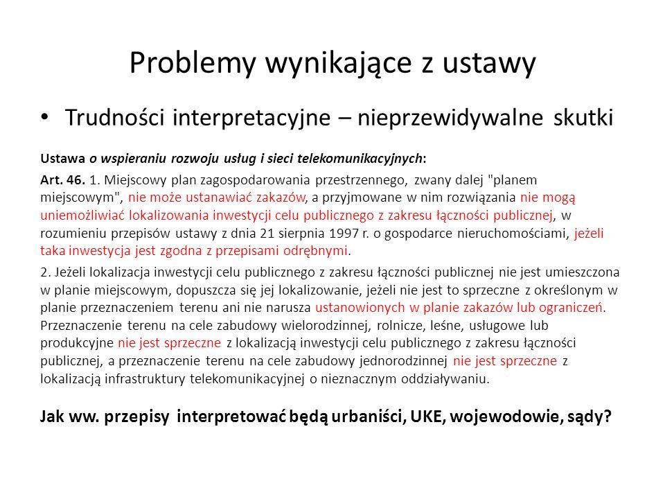 Problemy wynikające z ustawy Trudności interpretacyjne – nieprzewidywalne skutki Ustawa o wspieraniu rozwoju usług i sieci telekomunikacyjnych: Art. 4