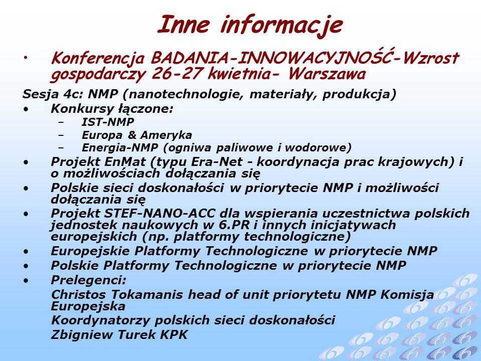 Konferencja BADANIA-INNOWACYJNOŚĆ-Wzrost gospodarczy 26-27 kwietnia- Warszawa Sesja 4c: NMP (nanotechnologie, materiały, produkcja) Konkursy łączone: –IST-NMP –Europa & Ameryka –Energia-NMP (ogniwa paliwowe i wodorowe) Projekt EnMat (typu Era-Net - koordynacja prac krajowych) i o możliwościach dołączania się Polskie sieci doskonałości w priorytecie NMP i możliwości dołączania się Projekt STEF-NANO-ACC dla wspierania uczestnictwa polskich jednostek naukowych w 6.PR i innych inicjatywach europejskich (np.