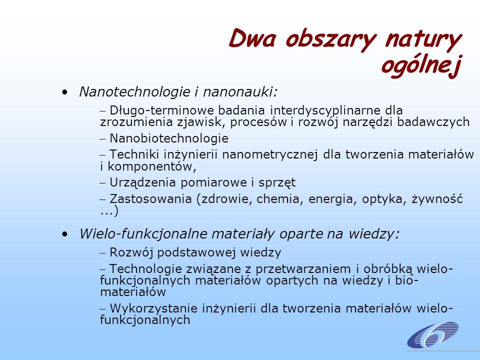 Dwa obszary natury ogólnej Nanotechnologie i nanonauki: Długo-terminowe badania interdyscyplinarne dla zrozumienia zjawisk, procesów i rozwój narzędzi badawczych Nanobiotechnologie Techniki inżynierii nanometrycznej dla tworzenia materiałów i komponentów, Urządzenia pomiarowe i sprzęt Zastosowania (zdrowie, chemia, energia, optyka, żywność...) Wielo-funkcjonalne materiały oparte na wiedzy: Rozwój podstawowej wiedzy Technologie związane z przetwarzaniem i obróbką wielo- funkcjonalnych materiałów opartych na wiedzy i bio- materiałów Wykorzystanie inżynierii dla tworzenia materiałów wielo- funkcjonalnych