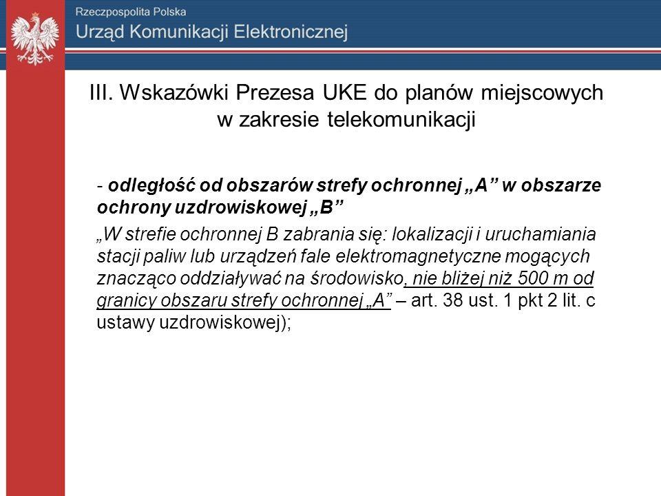 III. Wskazówki Prezesa UKE do planów miejscowych w zakresie telekomunikacji - odległość od obszarów strefy ochronnej A w obszarze ochrony uzdrowiskowe