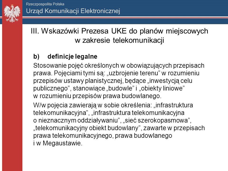 III. Wskazówki Prezesa UKE do planów miejscowych w zakresie telekomunikacji b) definicje legalne Stosowanie pojęć określonych w obowiązujących przepis