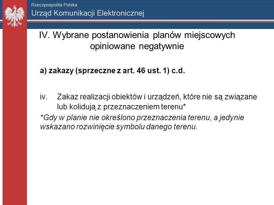 IV. Wybrane postanowienia planów miejscowych opiniowane negatywnie a) zakazy (sprzeczne z art.