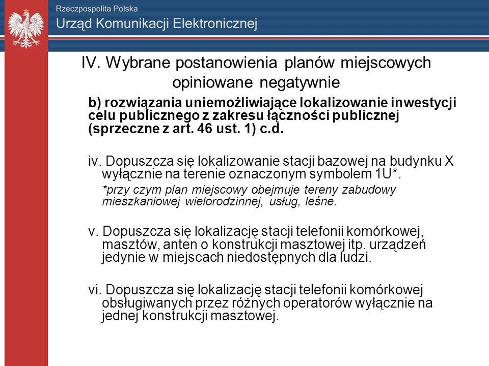 IV. Wybrane postanowienia planów miejscowych opiniowane negatywnie b) rozwiązania uniemożliwiające lokalizowanie inwestycji celu publicznego z zakresu