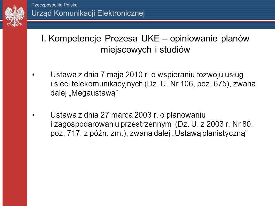 I. Kompetencje Prezesa UKE – opiniowanie planów miejscowych i studiów Ustawa z dnia 7 maja 2010 r.
