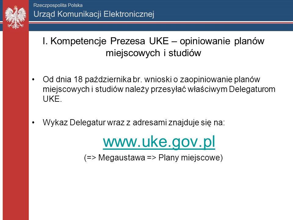 I. Kompetencje Prezesa UKE – opiniowanie planów miejscowych i studiów Od dnia 18 października br.