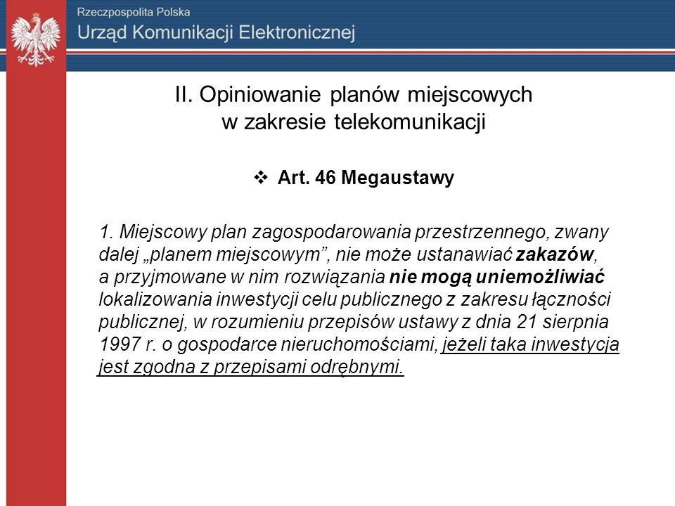 II. Opiniowanie planów miejscowych w zakresie telekomunikacji Art.