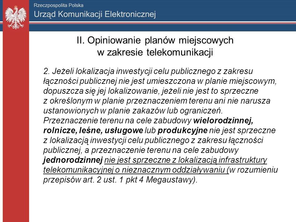 II. Opiniowanie planów miejscowych w zakresie telekomunikacji 2.