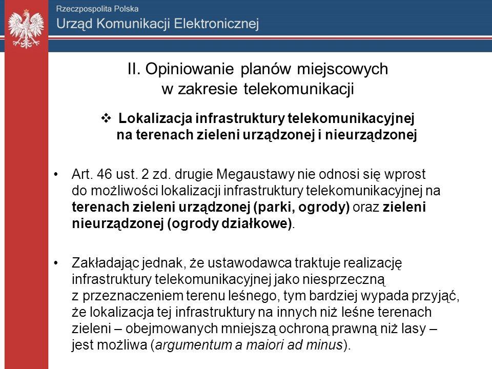 II. Opiniowanie planów miejscowych w zakresie telekomunikacji Lokalizacja infrastruktury telekomunikacyjnej na terenach zieleni urządzonej i nieurządz