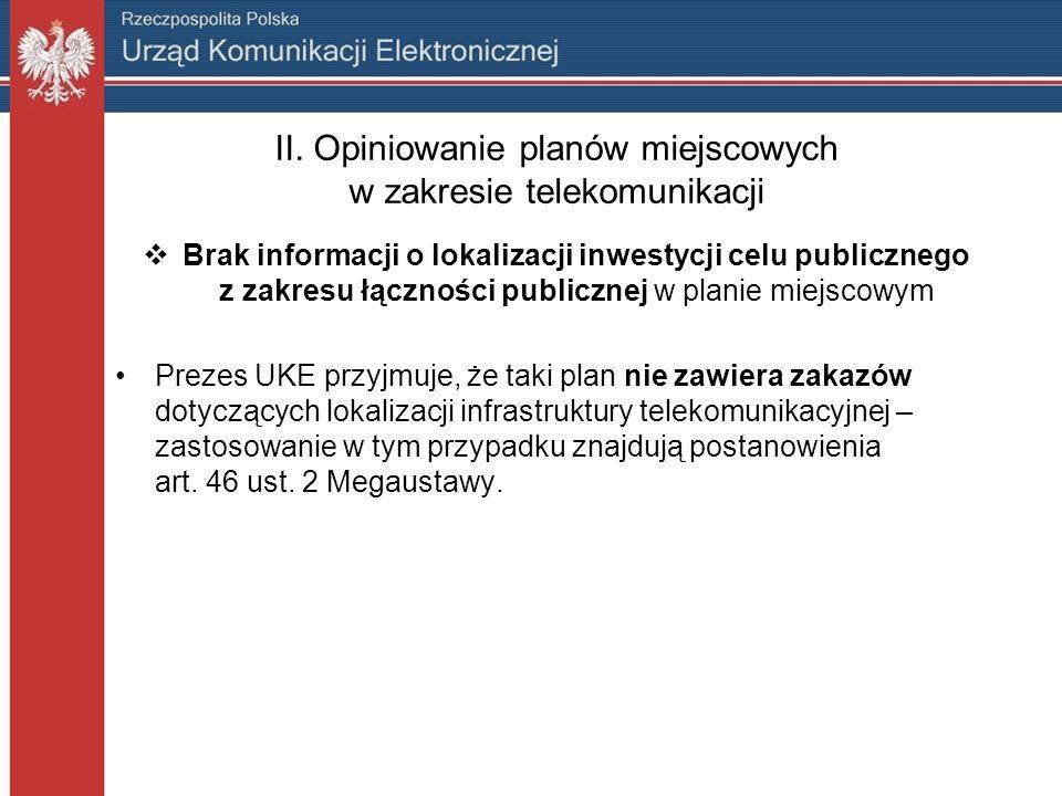 II. Opiniowanie planów miejscowych w zakresie telekomunikacji Brak informacji o lokalizacji inwestycji celu publicznego z zakresu łączności publicznej