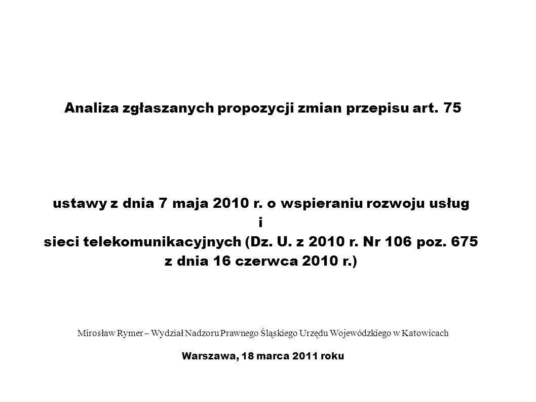 Analiza zgłaszanych propozycji zmian przepisu art.