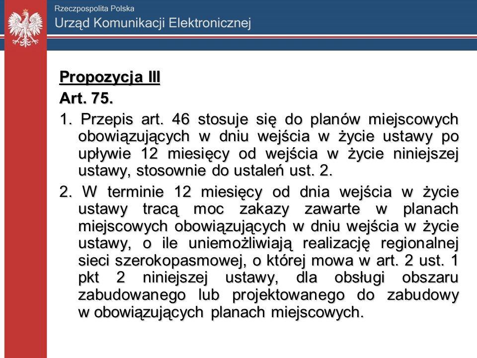 Propozycja III Art. 75. 1. Przepis art. 46 stosuje się do planów miejscowych obowiązujących w dniu wejścia w życie ustawy po upływie 12 miesięcy od we