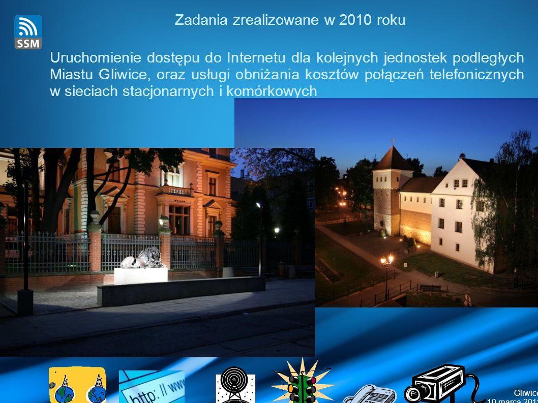 Gliwice 10 marca 2011 Zadania zrealizowane w 2010 roku Uruchomienie dostępu do Internetu dla kolejnych jednostek podległych Miastu Gliwice, oraz usługi obniżania kosztów połączeń telefonicznych w sieciach stacjonarnych i komórkowych
