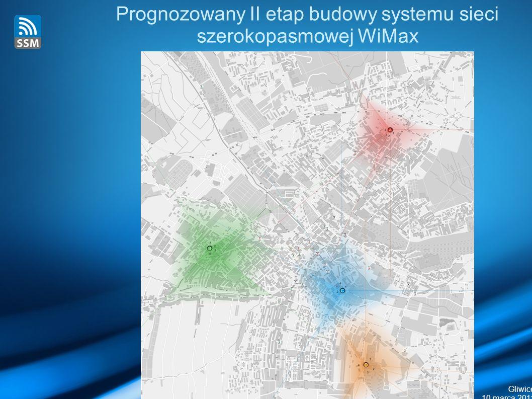 Gliwice 10 marca 2011 Prognozowany II etap budowy systemu sieci szerokopasmowej WiMax