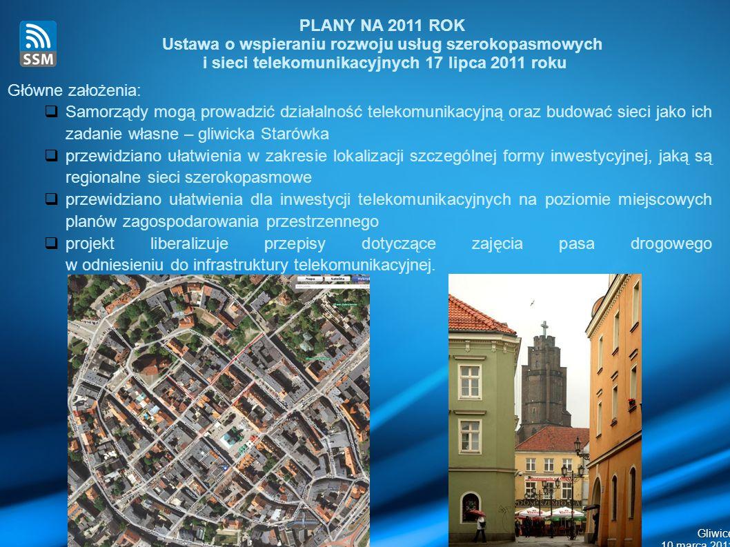 Gliwice 10 marca 2011 Główne założenia: Samorządy mogą prowadzić działalność telekomunikacyjną oraz budować sieci jako ich zadanie własne – gliwicka Starówka przewidziano ułatwienia w zakresie lokalizacji szczególnej formy inwestycyjnej, jaką są regionalne sieci szerokopasmowe przewidziano ułatwienia dla inwestycji telekomunikacyjnych na poziomie miejscowych planów zagospodarowania przestrzennego projekt liberalizuje przepisy dotyczące zajęcia pasa drogowego w odniesieniu do infrastruktury telekomunikacyjnej.