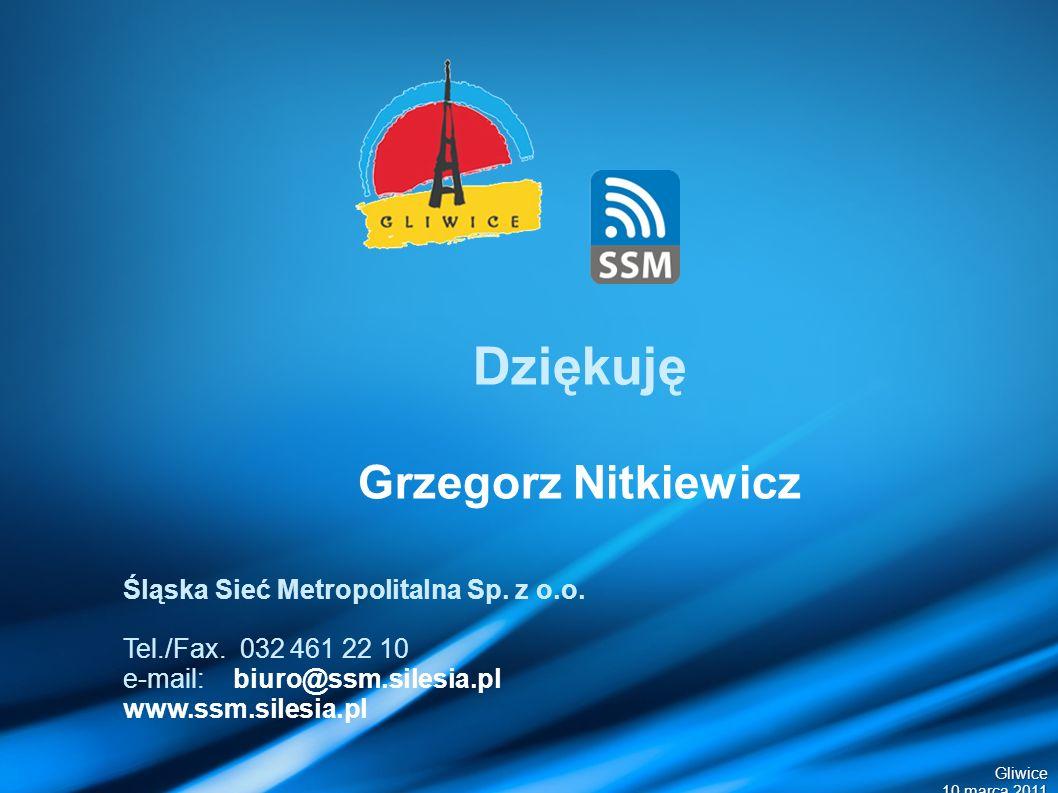 Gliwice 10 marca 2011 Dziękuję Grzegorz Nitkiewicz Śląska Sieć Metropolitalna Sp.