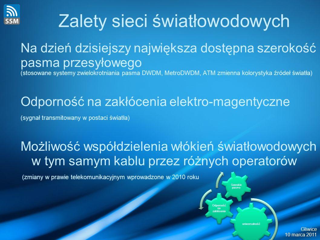 Zalety sieci światłowodowych Na dzień dzisiejszy największa dostępna szerokość pasma przesyłowego (stosowane systemy zwielokrotniania pasma DWDM, MetroDWDM, ATM zmienna kolorystyka źródeł światła) Odporność na zakłócenia elektro-magentyczne (sygnał transmitowany w postaci światła) Możliwość współdzielenia włókień światłowodowych w tym samym kablu przez różnych operatorów (zmiany w prawie telekomunikacyjnym wprowadzone w 2010 roku uniwersalność Odporność na zakłócenia Szerokie pasmo Gliwice 10 marca 2011