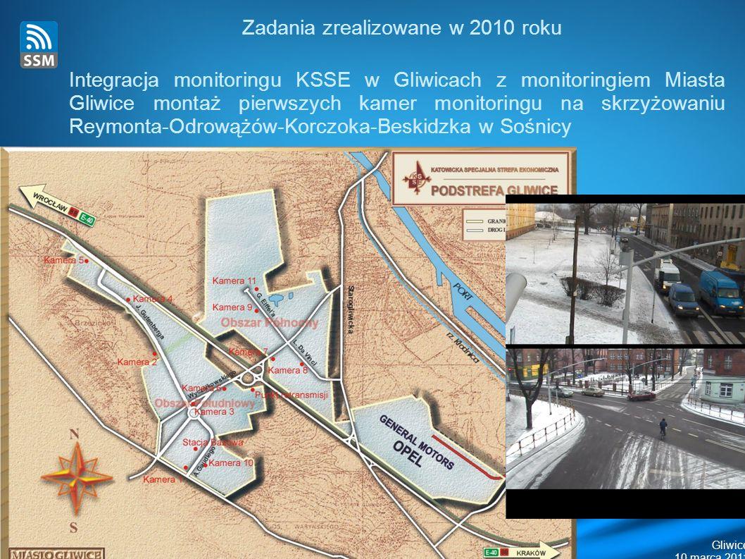 Gliwice Zadania zrealizowane w 2010 roku Integracja monitoringu KSSE w Gliwicach z monitoringiem Miasta Gliwice montaż pierwszych kamer monitoringu na skrzyżowaniu Reymonta-Odrowążów-Korczoka-Beskidzka w Sośnicy