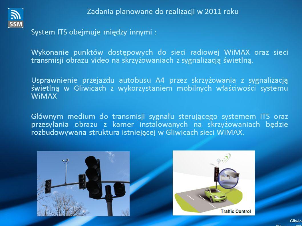 Gliwice 10 marca 2011 Zadania planowane do realizacji w 2011 roku System ITS obejmuje między innymi : Wykonanie punktów dostępowych do sieci radiowej WiMAX oraz sieci transmisji obrazu video na skrzyżowaniach z sygnalizacją świetlną.