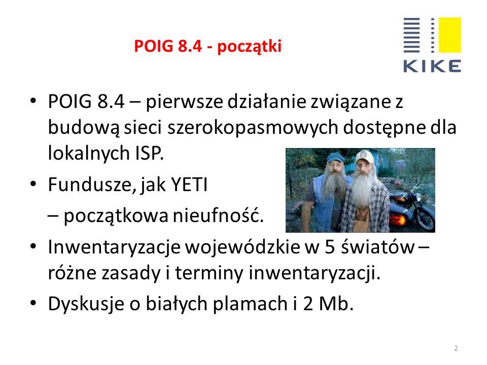POIG 8.4 - początki 2 POIG 8.4 – pierwsze działanie związane z budową sieci szerokopasmowych dostępne dla lokalnych ISP.