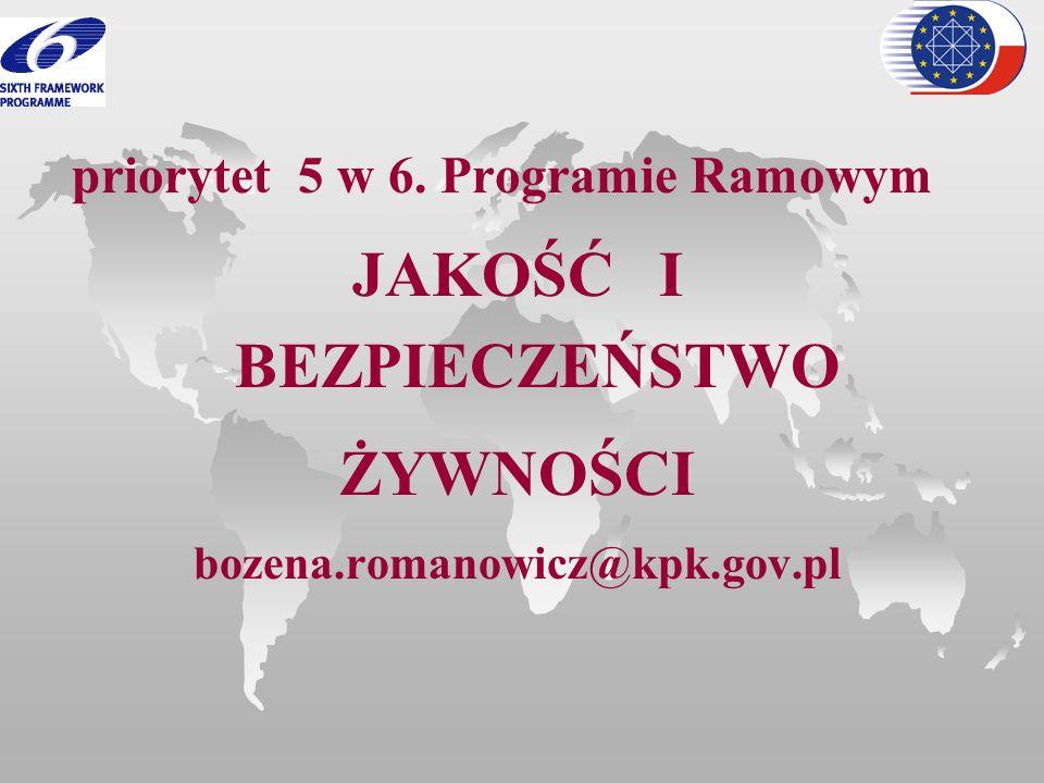 priorytet 5 w 6. Programie Ramowym JAKOŚĆ I BEZPIECZEŃSTWO ŻYWNOŚCI bozena.romanowicz@kpk.gov.pl