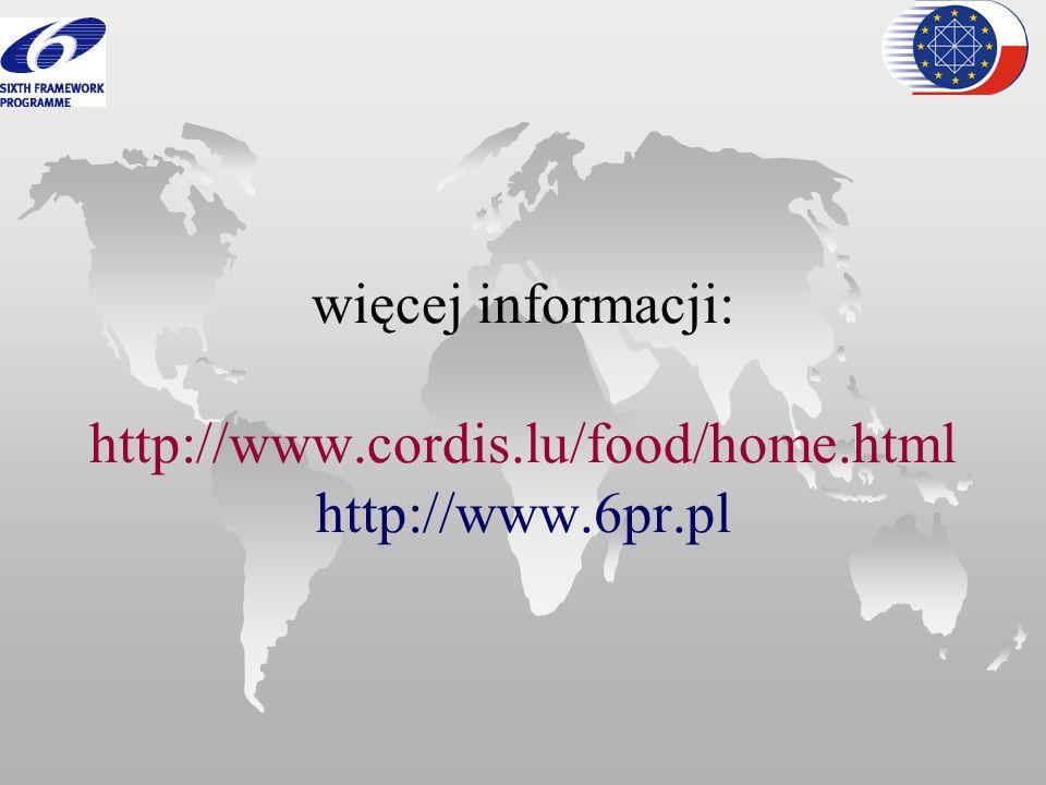 więcej informacji: http://www.cordis.lu/food/home.html http://www.6pr.pl