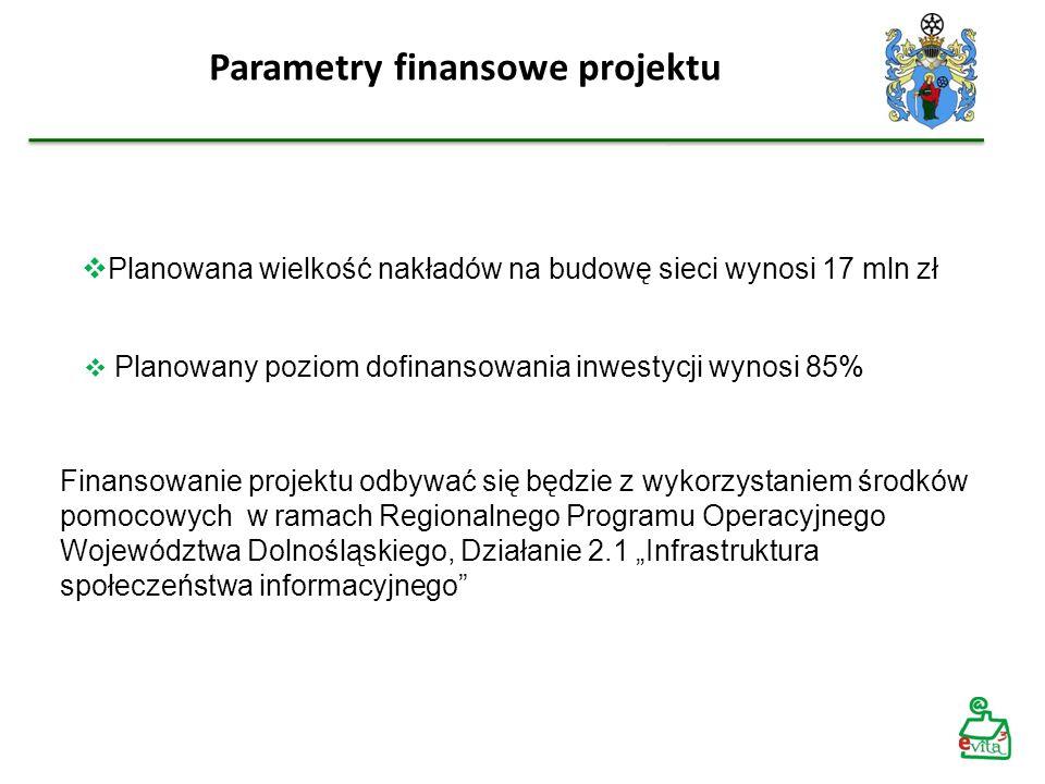 Planowany poziom dofinansowania inwestycji wynosi 85% Parametry finansowe projektu Finansowanie projektu odbywać się będzie z wykorzystaniem środków p