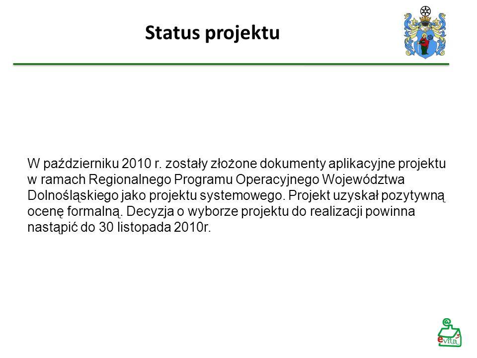 Status projektu W październiku 2010 r. zostały złożone dokumenty aplikacyjne projektu w ramach Regionalnego Programu Operacyjnego Województwa Dolnoślą